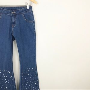 Bell Bottom Jeans Pearl Embellished Studded medium